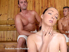 boinkinHD - Lucie Wilde super-fucking-hot Fuck with 2 fellows in the Sauna