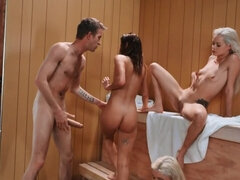Three petite cuties banged by well-hung stud in the sauna