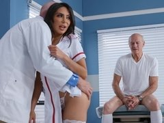Horny nurse and doctor having sex in front of old patient