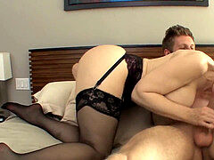 buxom milf seduces in tights and a garter