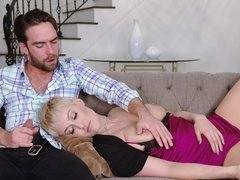 Sexy cougar Ryan Keely mounts stepson to grind her juicy milf pussy all over the root of his prick