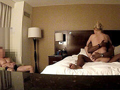 spouse Jerks While MyBlondeHotwife pounds bbc