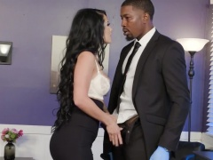 Skintight skirt and blouse babe Katrina Jade needs his BBC