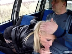 Good-looking amateur blonde drilled in a fake taxi car