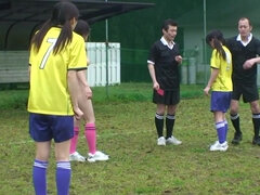 Sporty Asian girl gets nailed by her coach and a referee