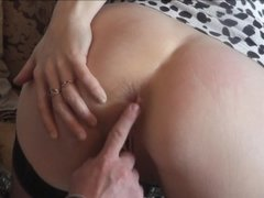 Mom shows step son pussy tits and allow fuck. Close up creampie. Sex taboo