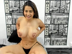 Colombian Chubby Girl Takes Off Black Bikini To Show Big Boobs