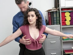 An innocent curly-haired chick Lyra Lockhart fucks with a guard
