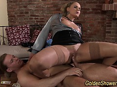 Pee soaked slut spunked