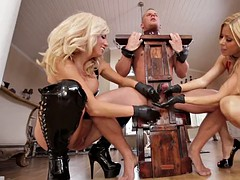 Female dominance. Two mature blonde and sex slave. Active milking