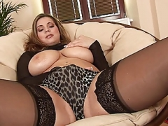 EU Kitten in Black Stockings Rubs Hooters Toys Her Pussy