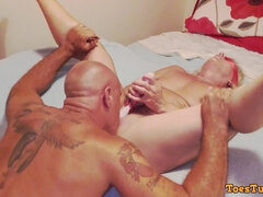 Muscle woman is blindfolded, eaten, butt fuck screwed and fingered