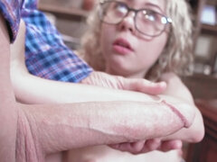 Blonde slut nailed by older man in a blue shirt in a library