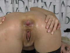 Wow Huge dildo fully inside Anal masturbation (Helena Moeller)