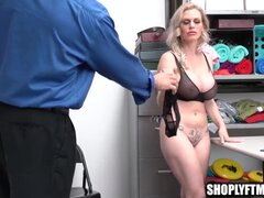 Busty MILF gets punished by security with sex for theft