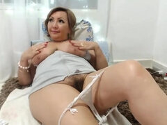 Chubby MILF teases me and my friends by her hairy pussy