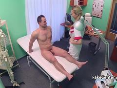 Horny nurse fucked by muscular guy