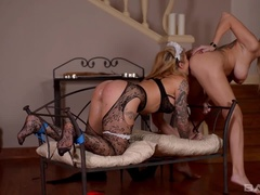 Rich housewife fucks her pretty french maid