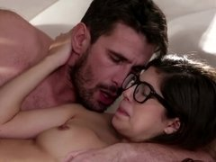 Man licks off pussy of sexy stepdaughter with glasses
