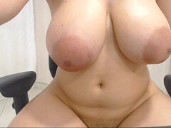 Shy plumper with huge natural tits - webcam video