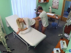 Horny busty blonde receives a creampie from the doctor