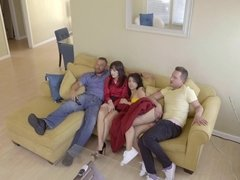 Naughty step-siblings having a raunchy fuck fest on the couch