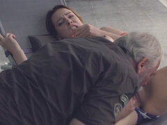 A lucky grandpa is having some sexual fun with a young gal