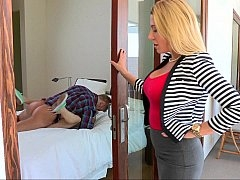Glamorous blonde mom watches her daughter get down and dirty
