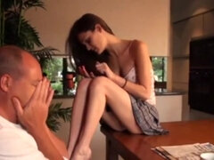 Shy old man and naughty teen girl