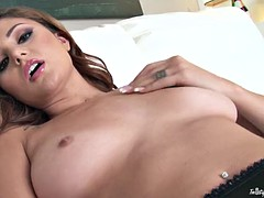 Shameless bitch Ariana Marie shows her shaved pussy