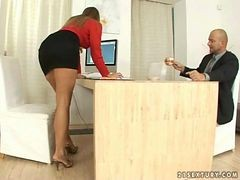 Hot Secretary Does Footjob and Gets Fucked