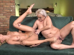 old and young lesbian love with petting and pussy fingering