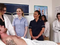 Dominant nurses giving bj undressed patients dick