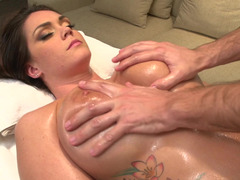Busty brunette girl enjoys a good dick during her massage session