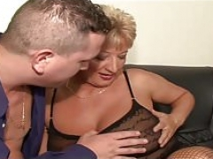 Granny mum Fleshy short haired in threesome of young stepson