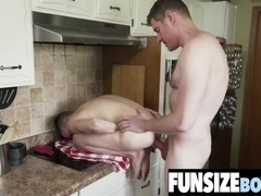 Cute twink Austin gets tiny ass fucked by big cock daddy in the kitchen