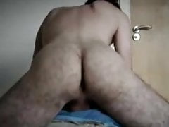 Hairy ass pillow humping orgasm
