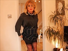 Green satin blouse with mini skirt & FFs