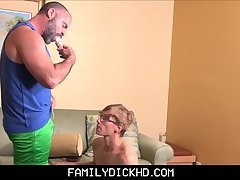 Bear Step Dad Treats Nerdy Step Son To ice Cream And His Fat Cock