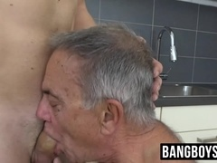 Grandpa gives him a blowjob and rimjob before swallowing cum