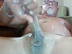 Stocky married bear wanks and cums