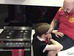 youngster maid with glasses screwed by bald parent in kitchen