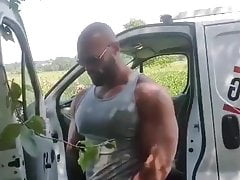 Bodybuilder with big cock piss outdoors