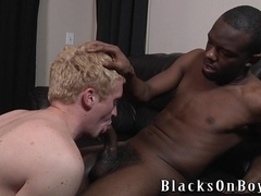 Blonde queer gets his ass fucked doggy style by his black buddy