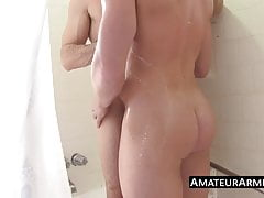 Two hunk armpit lovers having a shower blowjob session