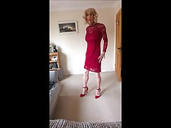 B4 going out in my sexy red lace dress
