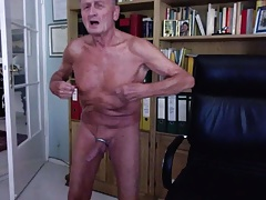 Grandpa playing with his nipples