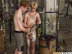 BDSM twink wrapped for rough handjob