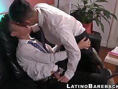 Latino twink with shirt and tie gets stripped and drilled