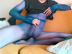 young man IN BLUE SHEER stocking ENCASEMENT AND HIS BIG COCK